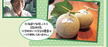 北海道で有機JAS 認証取得。 化学肥料・化学合成農薬は 一切使用しておりません。